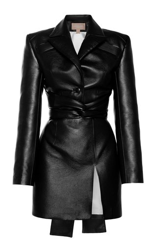 Belted Faux Leather Mini Dress