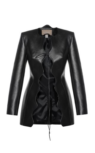Wave Faux Leather Coat