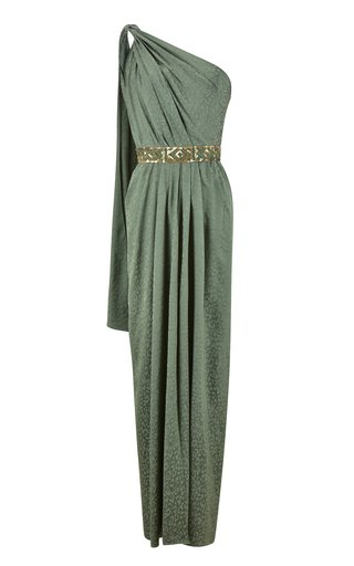 Royal Garden Draped Jacquard One-Shoulder Maxi Dress