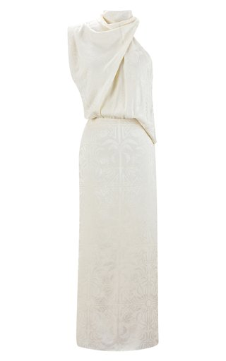 Finding Balance Asymmetric Draped Jacquard Maxi Dress