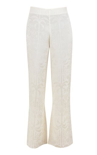 Garden Oasis Jacquard Flared-Leg Pants