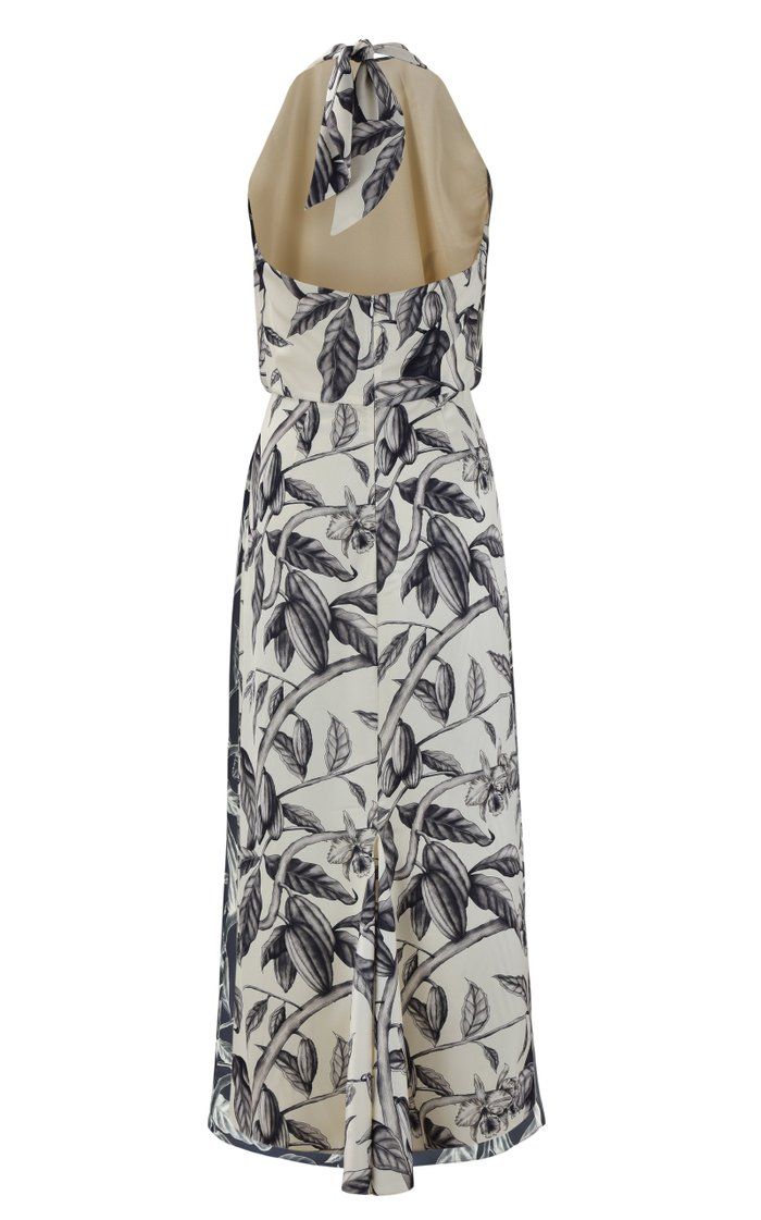 Rewarding Journey Floral Satin Midi Halter Dress