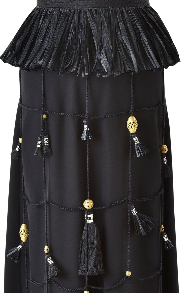 New Realities Embellished Belted Silk Maxi Dress