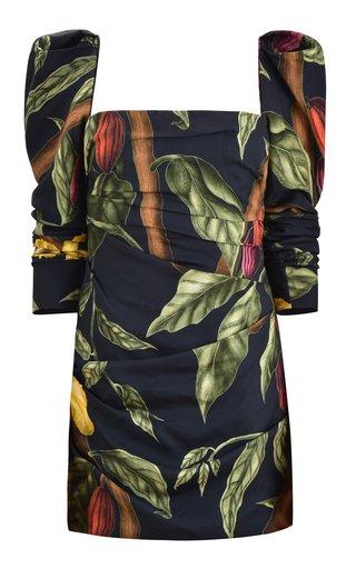 Gathering Nature Printed Crepe Mini Dress
