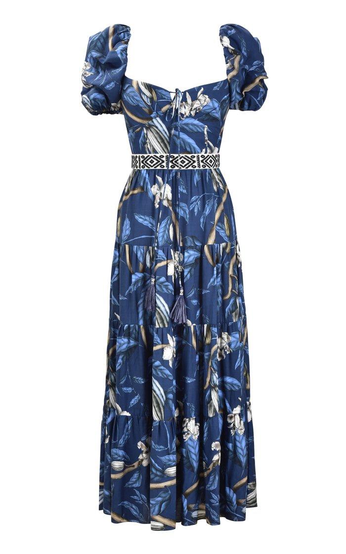 Botanical Heritage Printed Crepe Midi Dress