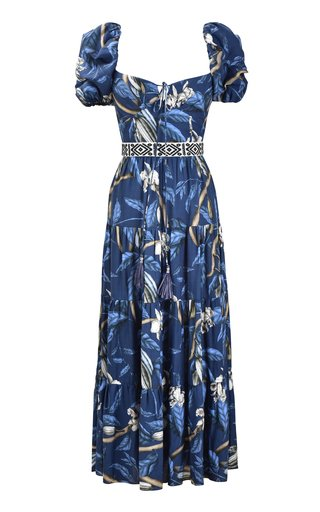 Botanical Heritage Printed Crepe Midi Dress