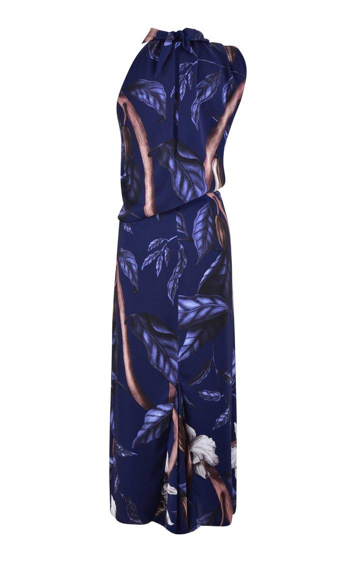 Balm Of Hope Draped Printed Georgette Midi Dress