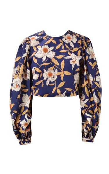 Aire Colonial Puff-Sleeve Floral Cotton Crop Top