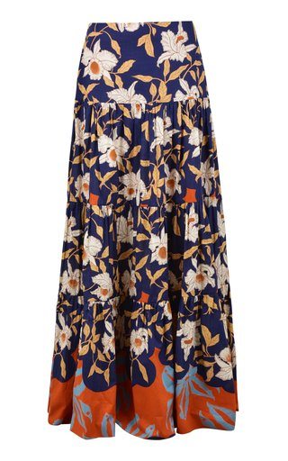 Buenos Vientos Printed Cotton Tiered Maxi Skirt