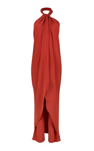 The Heart Of The Andes Draped Crepe Halter-Neck Jumpsuit