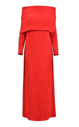 Face The Music Crepe Off-The-Shoulder Maxi Dress