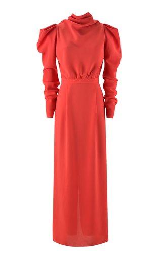 Artful Journey Draped Stretch Georgette Silk Dress