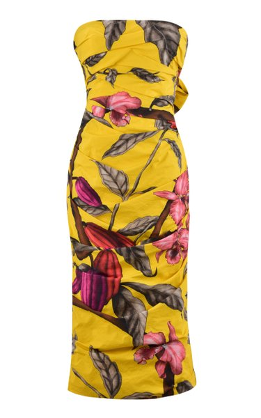 Mixed Emotions Printed Cotton Strapless Midi Dress