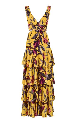 Nature's Eloquence Tiered Printed Georgette Maxi Dress