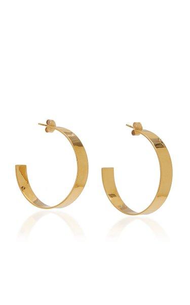 Large Plain Gold-Plated Hoop Earrings