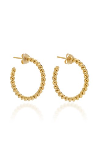 Twisted Gold-Plated Small Hoop Earrings