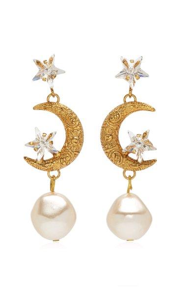 Elpis Crystal, Pearl Gold-Plated Earrings