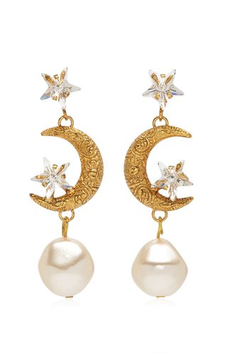 Elpis Crystal, Pearl Gold-Plated Earrings