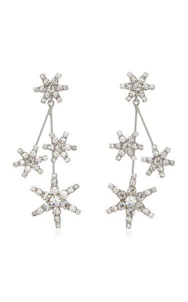 Saros Crystal-Embellished Rhodium-Plated Earrings
