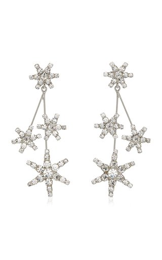 Saros Crystal-Embellished Rhodium-Plated Earrings