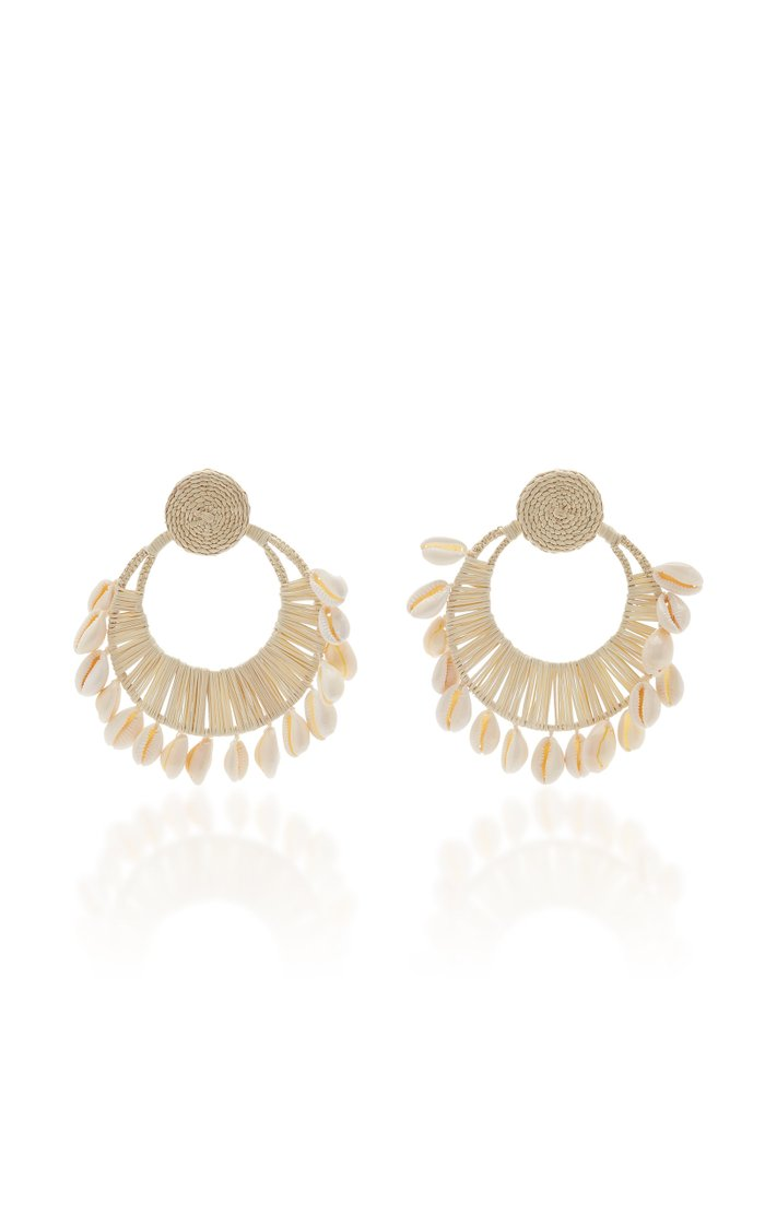 Historia Natural Iraca and Shell Hoop Earrings