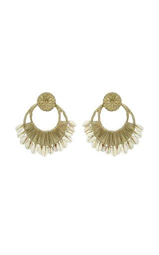 Historia Natural Metallic Iraca and Shell Hoop Earrings