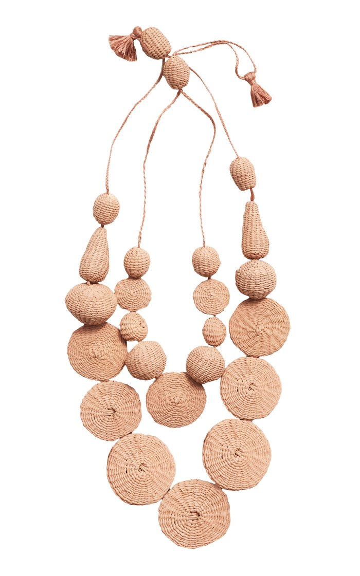 Island Soujourn Iraca And Wood Statement Necklace