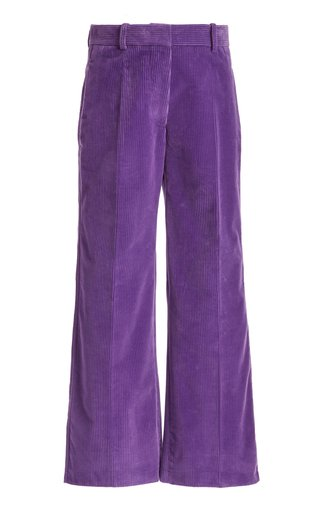 Cropped Corduroy Wide-Leg Trousers