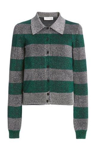Metallic Striped Cotton-Blend Knit Top