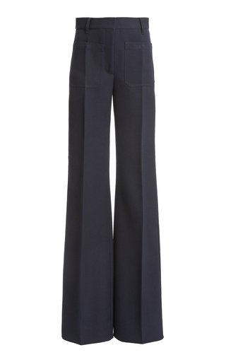 Wool Twill High-Rise Flared-Leg Trousers