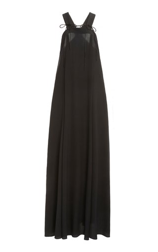 Tie-Detailed Draped Silk Maxi Dress