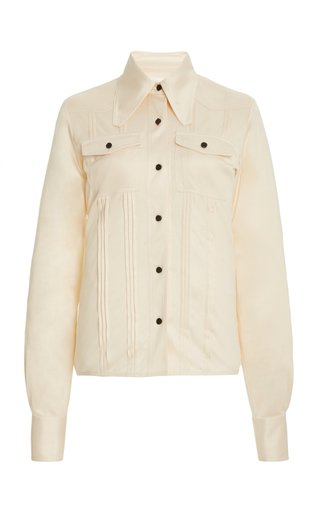 Pin-Tucked Silk Shirt