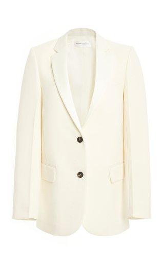 Wool Crepe Single-Breasted Blazer