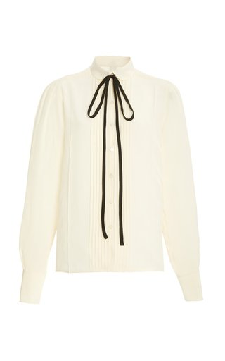 Tie-Neck Pleated Silk Top