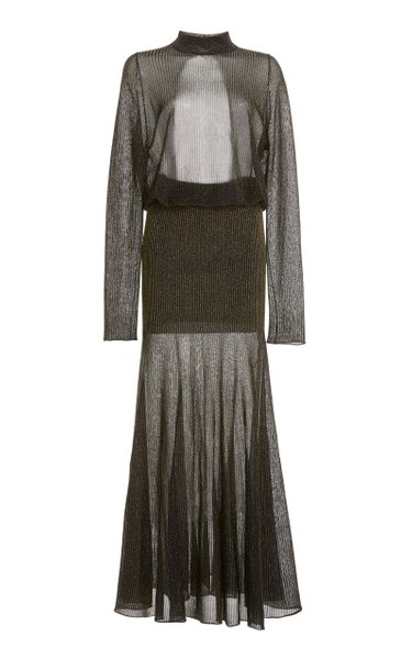 Open-Back Metallic-Knit Maxi Dress