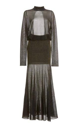 Open-Back Metallic-Knit Maxi Dress