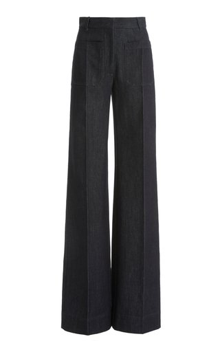 Raw Denim High-Rise Flared-Leg Jeans
