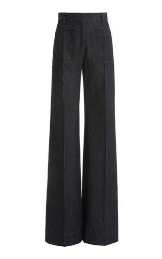 Raw Denim High-Rise Flared-Leg Jeans