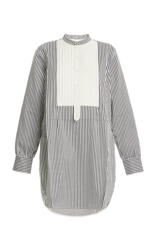 Bib-Front Striped Cotton-Silk Tuxedo Shirt