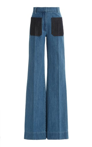 Patch-Pocket Rigid High-Rise Flared-Leg Jeans