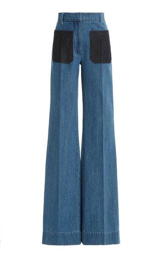 Patch-Pocket Rigid High-Rise Flared-Leg Jeans