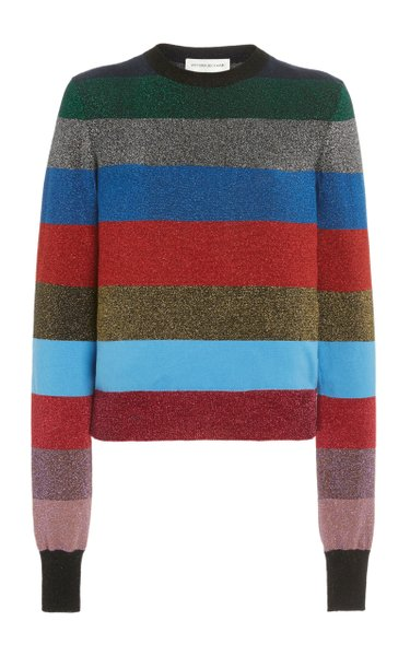 Striped Metallic Cotton-Blend Knit Top