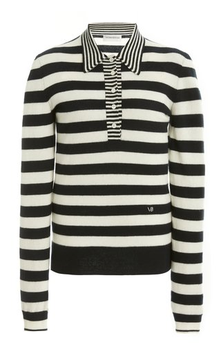 Striped Wool-Cashmere Polo Knit Top