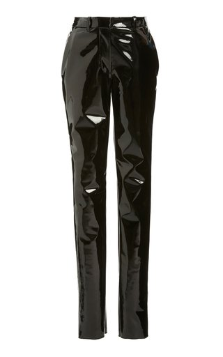 PVC High-Rise Slim Trousers