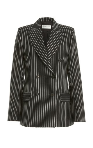 Metallic-Striped Wool-Blend Double-Breasted Blazer