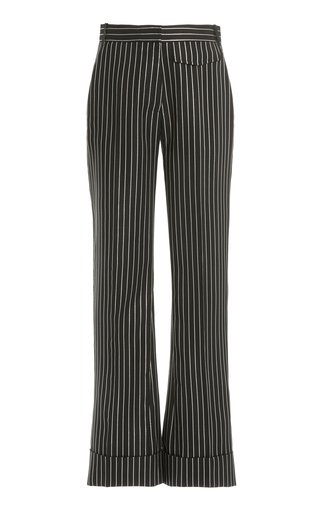 Metallic-Striped Wool-Blend Cuffed Straight-Leg Trousers