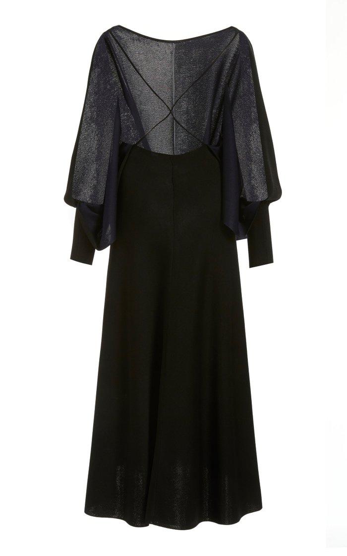 Open-Back Knit Midi Dress