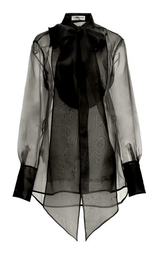 Bibbed Silk-Organza Tie-Neck Shirt