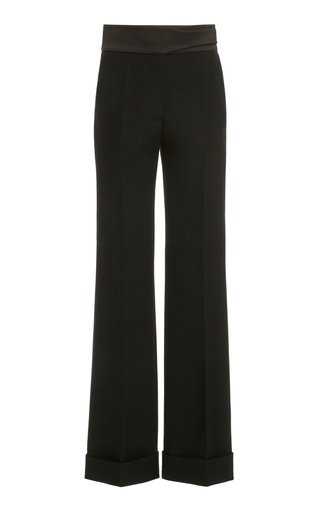 Satin-Waist Straight-Leg Trousers