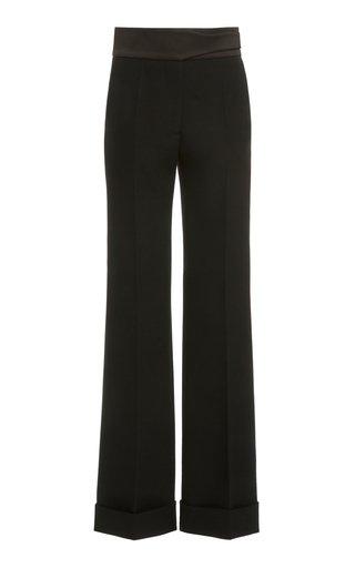 Satin-Waist Straight-Leg Trousers